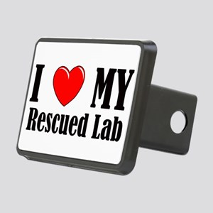 I Love My Rescued Lab Rectangular Hitch Cover