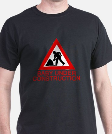 Baby under construction Black T-Shirt