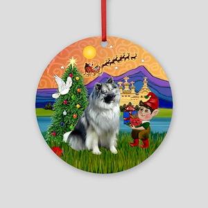 Xmas Fantasy & Keeshond Ornament (Round)