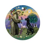 Saint Francis & Black Great Dane Ornament (Rou