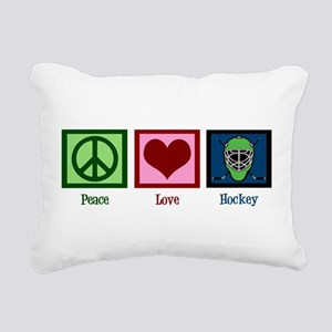 Peace Love Hockey Rectangular Canvas Pillow