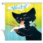 Vintage French Black Cat Shoe Shower Curtain