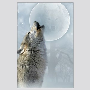 Wolf Blue Moon Large Poster