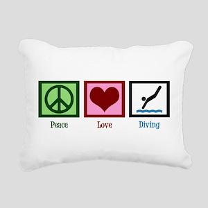 Peace Love Diving Rectangular Canvas Pillow