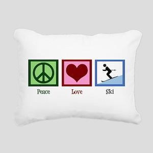 Peace Love Ski Rectangular Canvas Pillow
