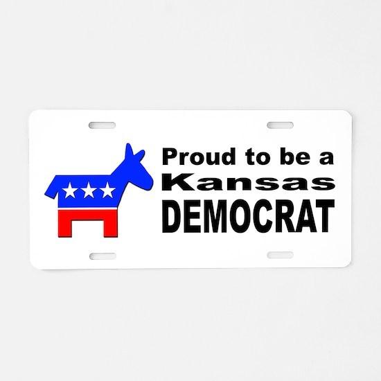Kansas Democrat Pride Aluminum License Plate