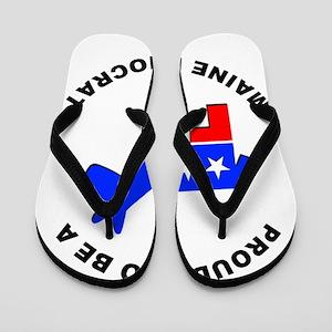 Maine Democrat Pride Flip Flops