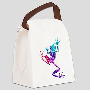 WakanaFrogPurpleBlue Canvas Lunch Bag