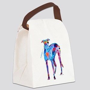 Greyhound with Heart Canvas Lunch Bag