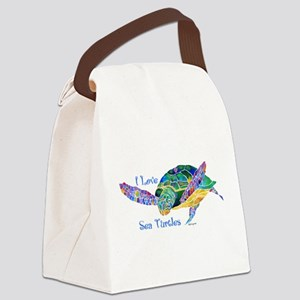 I Love Sea Turtles 2 Canvas Lunch Bag