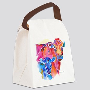 Cow and Calf Vivid Colors Canvas Lunch Bag