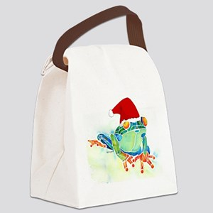 Christmas Holiday Tree Frog Canvas Lunch Bag