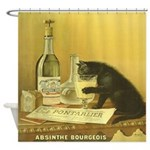 Vintage French Absinthe Cat Shower Curtain