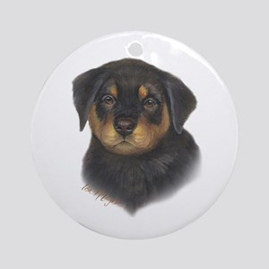 adorable Rottweiler puppy Ornament (Round)