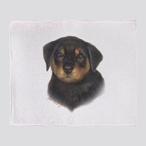 adorable Rottweiler puppy Throw Blanket