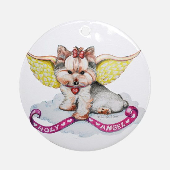 Holly Angel Holly Ornament (Round)