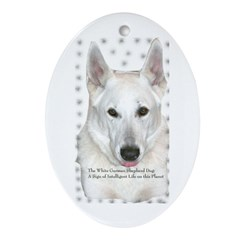 White German Shepherd Dog - A Oval Ornament