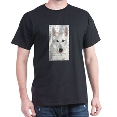 White German Shepherd Dog - A Black T-Shirt