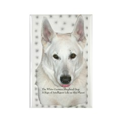White German Shepherd Dog - A Rectangle Magnet (10
