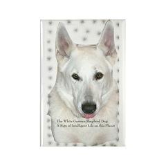 White German Shepherd Dog - A Rectangle Magnet