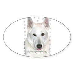 White German Shepherd Dog - A Oval Decal