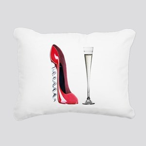 Corkscrew Red Stiletto and Champagne Art Rectangul
