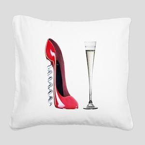 Corkscrew Red Stiletto and Champagne Art Square Ca