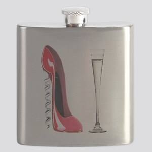Corkscrew Red Stiletto and Champagne Art Flask