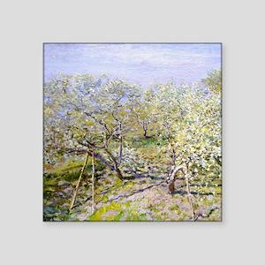 "Claude Monet Apple Trees Square Sticker 3"" x 3"""