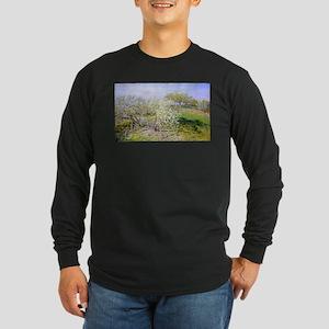 Claude Monet Apple Trees Long Sleeve Dark T-Shirt
