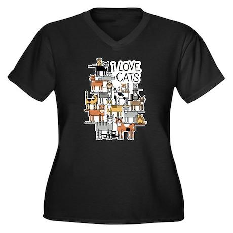 I Love Cats Women's Plus Size V-Neck Dark T-Shirt