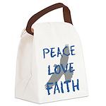 Peace Love Faith Canvas Lunch Bag