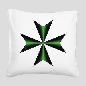 Green Maltese Cross Square Canvas Pillow