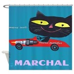 Vintage French Cat Car Poster Shower Curtain