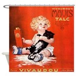 Vintage French Poster Child Cat Shower Curtain