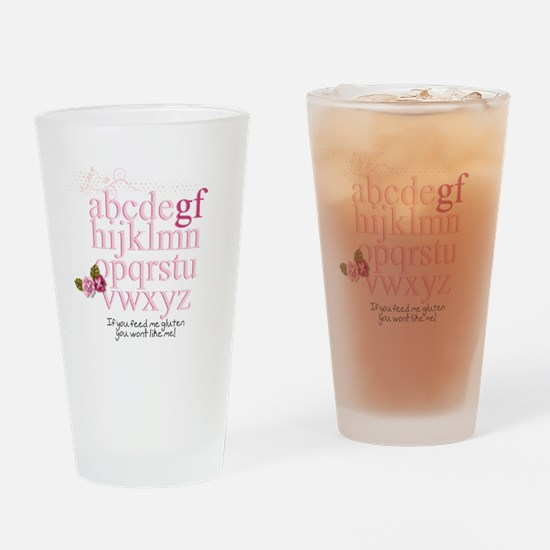 Gluten Free Alphabet Pink Drinking Glass
