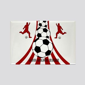 Personalized Red White Soccer Rectangle Magnet