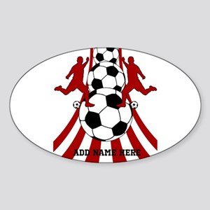 Personalized Red White Soccer Sticker (Oval)