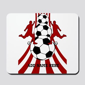 Personalized Red White Soccer Mousepad