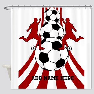 Personalized Red White Soccer Shower Curtain