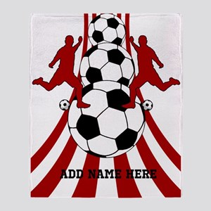 Personalized Red White Soccer Throw Blanket