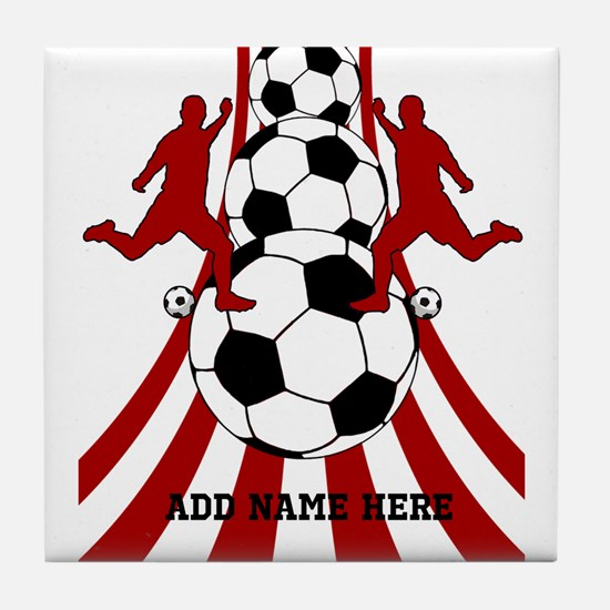 Personalized Red White Soccer Tile Coaster