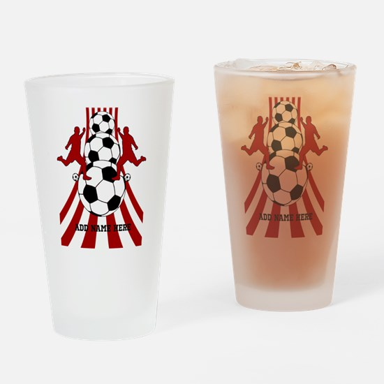 Personalized Red White Soccer Drinking Glass