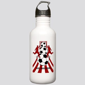 Personalized Red White Soccer Stainless Water Bott