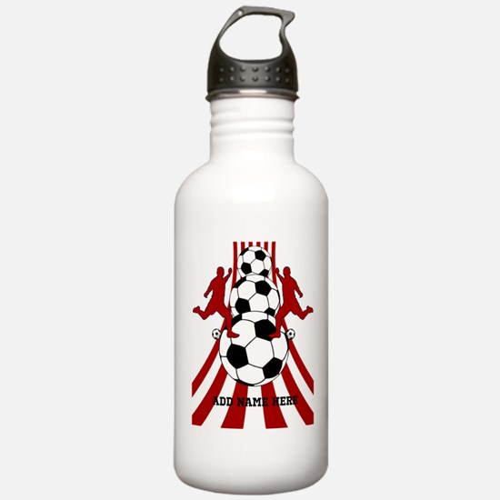 Personalized Red White Soccer Sports Water Bottle