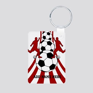 Personalized Red White Soccer Aluminum Photo Keych
