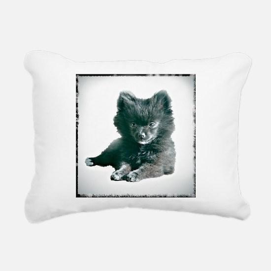 Adorable Black Pomeranian Puppy Rectangular Canvas