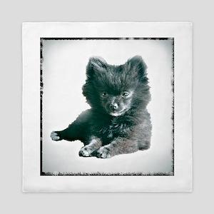 Adorable Black Pomeranian Puppy Queen Duvet