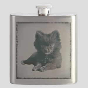 Adorable Black Pomeranian Puppy Flask