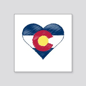 "I Love Colorado Square Sticker 3"" x 3"""